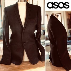 ASOS WOOL BLEND BLAZER SZ S-M BURGUNDY/BLACK